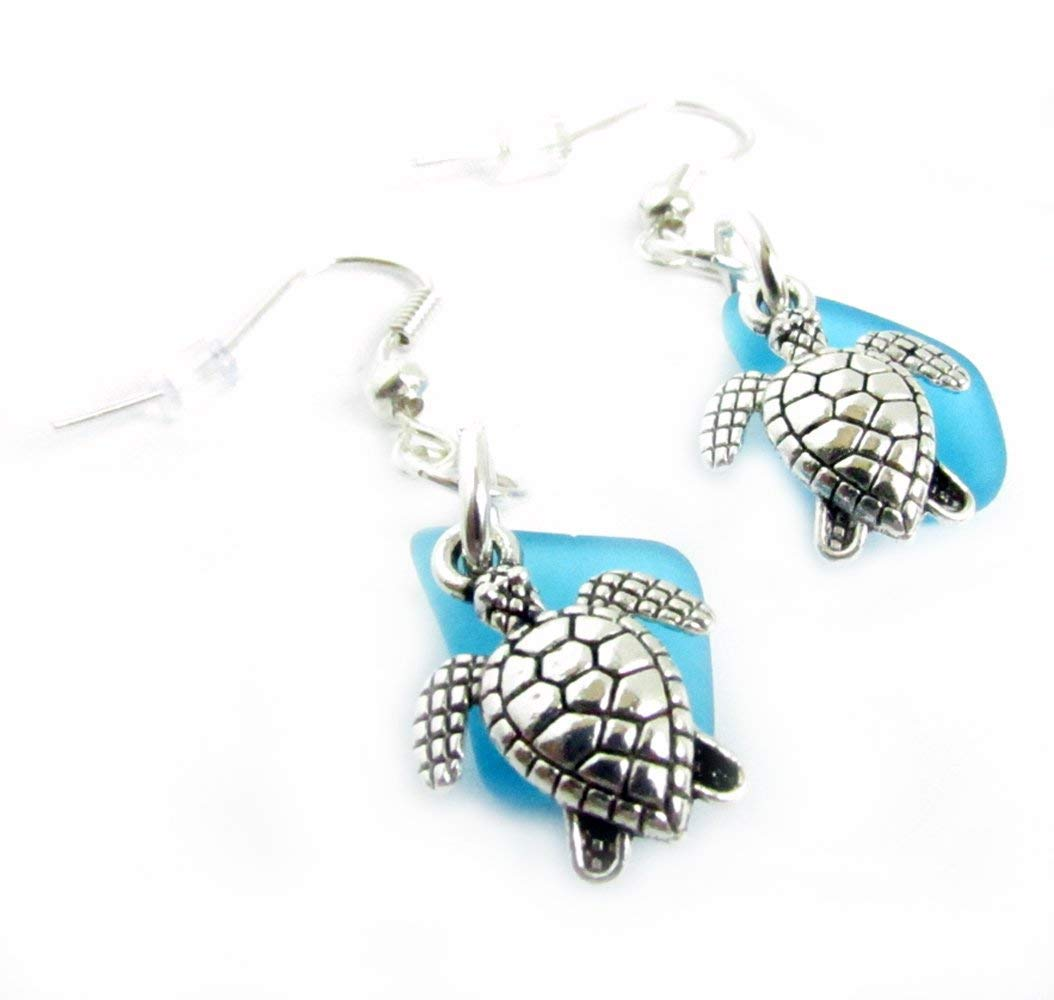 Dainty Sea Glass Sea Turtle Earrings Easter Gifts Beach Jewelry