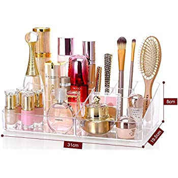 Cq acrylic 9 Grid Makeup Organizer and as a Lipstick and Makeup Brushes Holder,Clear,13.8