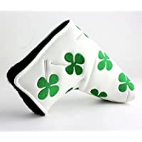 Craftsman Golf Brand New WHITE GREEN SHAMROCK CLOVER Golf Blade Style Putter Head cover Headcover