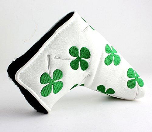 Lezhisnug Golf White Green Shamrock Clover Golf Blade Style Putter Head Cover Headcover