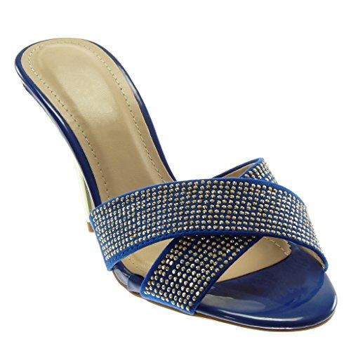 Strass Angkorly Croisé Chaussures Chics Des Cm 5 Pompe Mules 10 Haut Femmes Escarpins De Stiletto Aiguille Talon Lanières Bleu Fantaisie Mode on Slip tqwAO