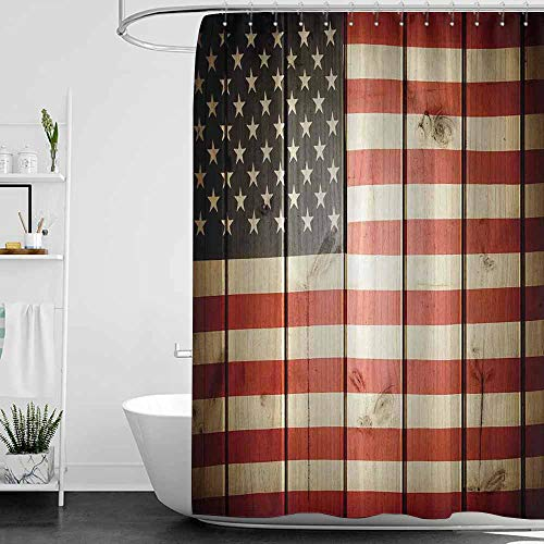 - SKDSArts Shower Curtains Dolphins American Flag,USA Flag Over Vertical Striped Wooden Board Citizen Solidarity Kitsch Artwork,Blue Red,W72 x L72,Shower Curtain for Shower stall