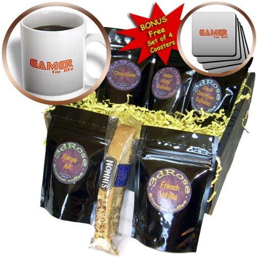 Deniska Designs WoW - Gamer For Life on Gray - Coffee Gift Baskets - Coffee Gift Basket (cgb_12447_1)