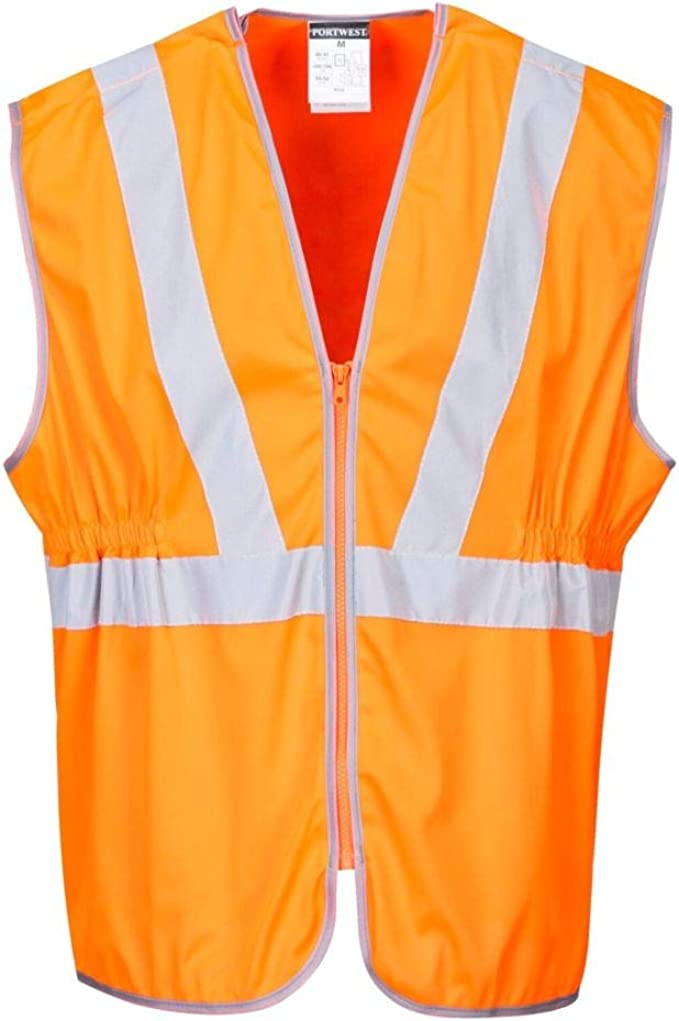 Portwest High Visibility Railtrack Waistcoat Vest Polyester Anti-tangle Extra Large Orange Ref RT20XLGE