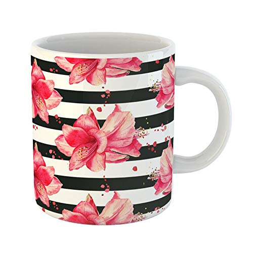 Emvency Coffee Tea Mug Gift 11 Ounces Funny Ceramic Purple Stripe Watercolor Pattern Red Amaryllis Flowers Striped Black White Gifts For Family Friends Coworkers Boss Mug