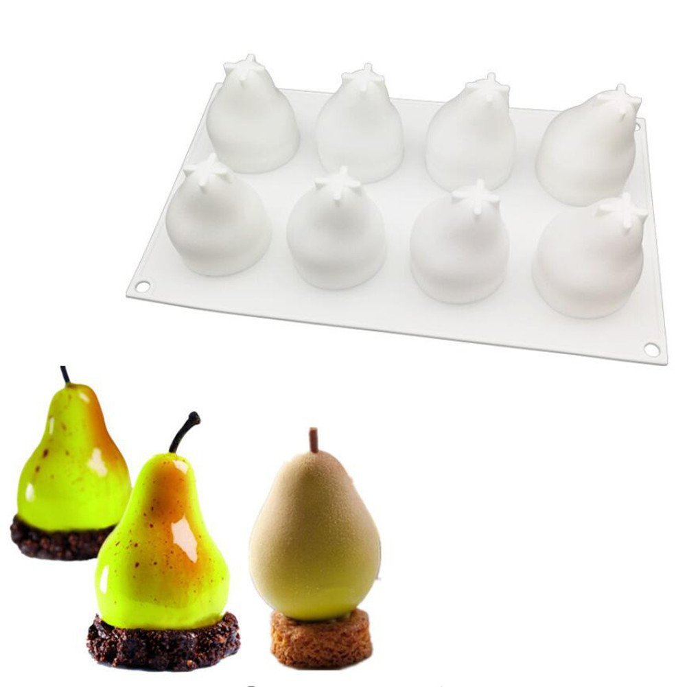 Pear Shape 3D Silicone Mold Cake Decorating Tool Bakeware French Dessert Mousse Cake Tray Baking Cupcake Mousse Silicone Cake Pastry Making Pan Kitchen Baking Tool