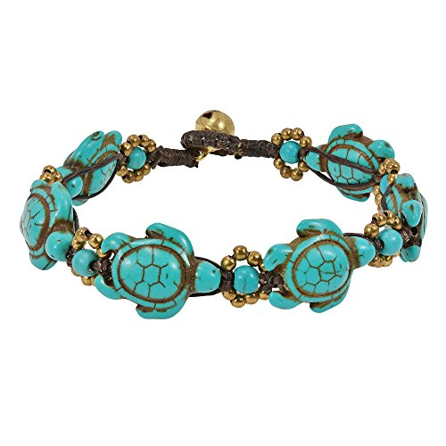 AeraVida Swimming Simulated Turquoise Sea Turtles & Fashion Brass Beads Jingle Bell Link Bracelet