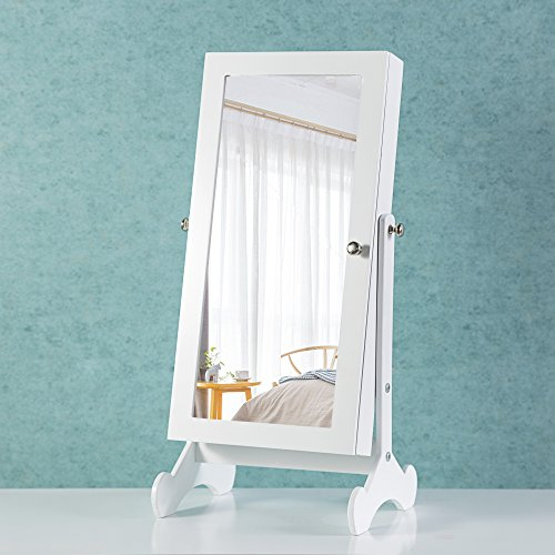 Cloud Mountain Make Up Mirrored Jewelry Cabinet Free Standing Jewelry Armoire Mini Table Tilting Jewelry Organizer, White by Cloud Mountain (Image #4)