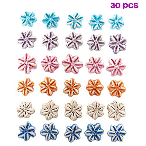 30 PCs Cowrie Shells Sew On Leather Flower Patch Charm with Seed Beads - Painted - Handcrafted - Assortment of 6 Colors (5 Each) - Great Kit for DIY Projects, Crafts, Jewelry Making