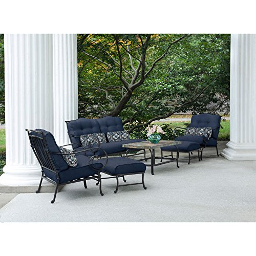 Oceana 6 piece patio set in navy blue with a stone top for Home design 6 piece patio set
