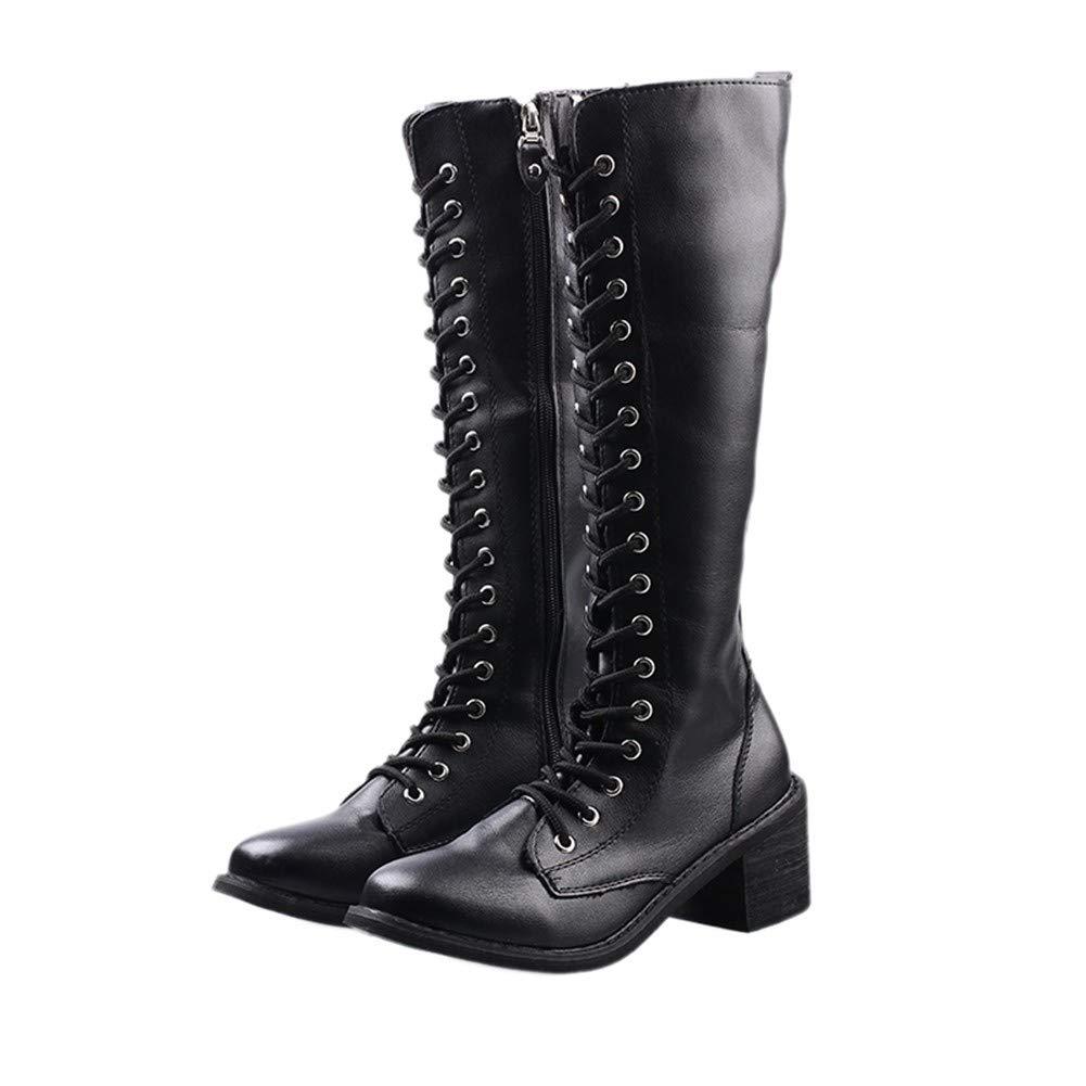 YMFIE Damen Dicke hohe Stiefel Herbst und Winter Spitze Reißverschluss Mode warme Stiefel