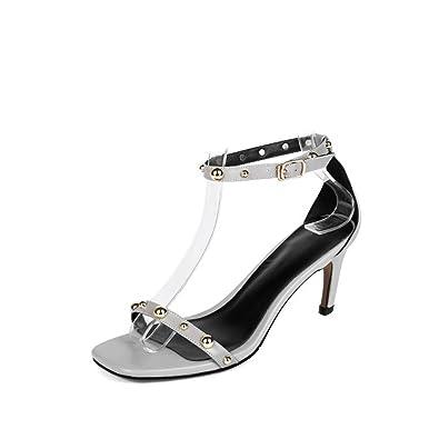 HJHY® Sexy Sandales, Printemps et Été Sandales à Talons Hauts Mince Talon Chaussures Femme Sandales à Bout Ouvert (Couleur : Noir, Taille : 39)