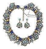 Charm.L Grace Jewelry Vintage Alloy Flowers Collar Necklace Earrings Set
