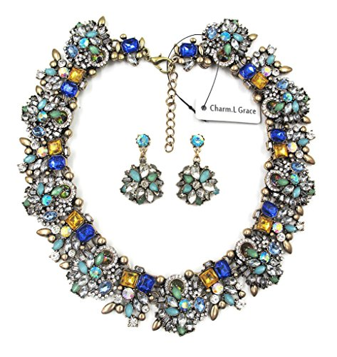 Charm.L Grace Jewelry Vintage Alloy Flowers Collar Necklace Earrings Set