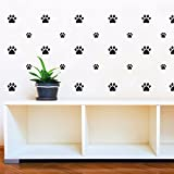 JOYRESIDE 49 Pieces/Set Dog Paws Wall Decals Vinyl Pawprints Sticker Animal Footprint Wall Art Decoration for Kids Boy Girl Baby Nursery Bedroom Living Room Animal Tracks Decor YMX21 (Black)