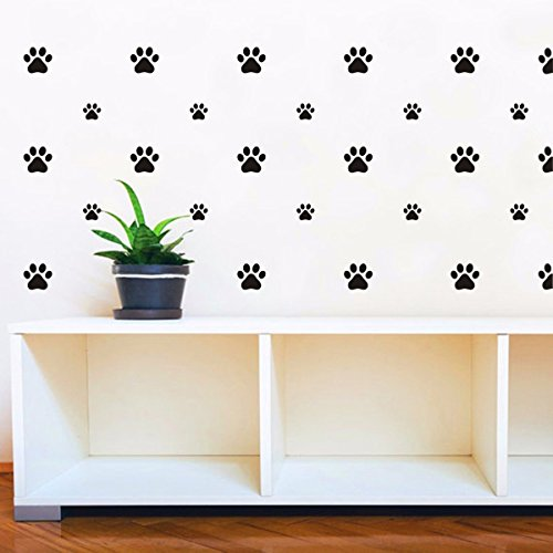 set dog paws wall decals