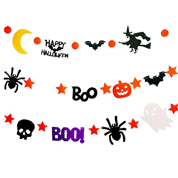 6pcs Happy Halloween Pumpkin Bat Ghost Witches Spider Skull Grimace Banners and 20pcs Balloons Lictin Halloween Party Decorations Banner