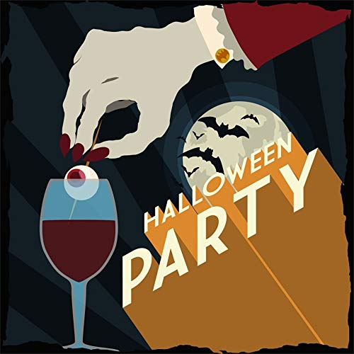 Laeacco 8x8ft Halloween Party Backdrop Vinyl Gloomy Moonlight Flying Bats Creepy Evil Hand Stiring Blood Drink Scarey Eyeball Candy Illustration Background Trick Or Treat Party Banner Child Baby Shoot -