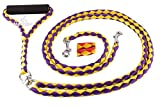 Hertzko Stong Braided No Tangle Dual Pet Leash - Colors May Vary -Purple & Yellow/Red & Yellow