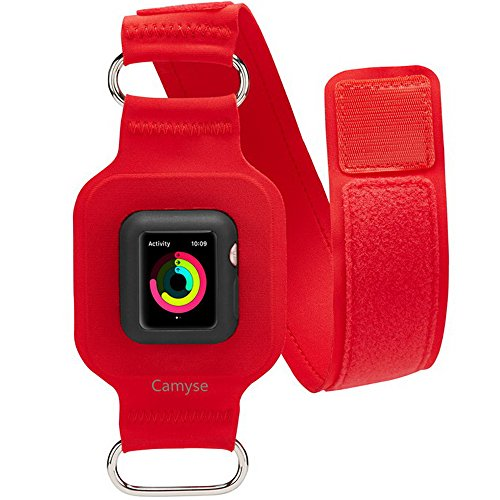 Camyse for Apple Watch Armband 42mm, Adjustable Reflectiv Bands for Running, Workouts or Any Fitness Activity, Sport Exercise Arm Band for Apple Watch Series 3, Series 2, Series 1 - (Slim/Red)