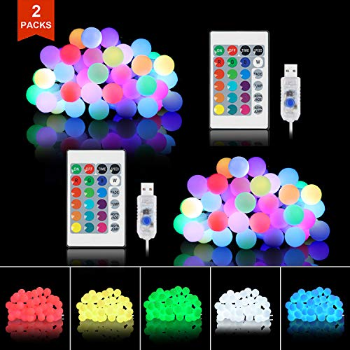 Tesyker String Lights for Bedroom, Ball Lights Bedroom Lights 20 Ft 40 LEDs Led String Lights Fairy Lights, Color Changing Lights USB 16 Colors for Dorm Room Christmas Patio Party Porch (2 Packs) (Porch Room Ideas)