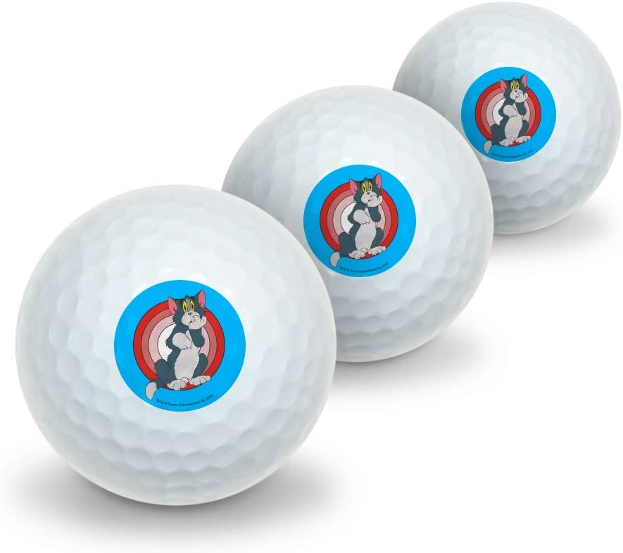 GRAPHICS & MORE Tom and Jerry Tom Character Novelty Golf Balls 3 Pack