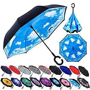 Zameka Double Layer Inverted Umbrellas Reverse Folding Umbrella Windproof UV Protection Big Straight Umbrella Inside Out Upside Down for Car Rain Outdoor with C-Shaped Handle Sky