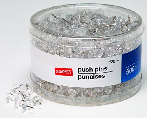 Staples Push Pins Clear 500