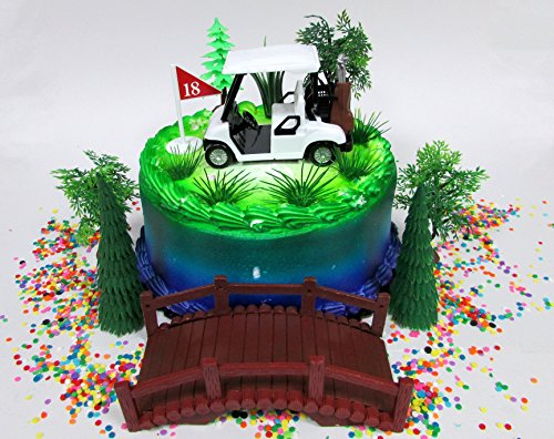 Golfing Themed 12 Piece Golfer Birthday Cake Topper Set Featuring Golf Cart and Decorative Themed Accessories for $<!--$29.99-->
