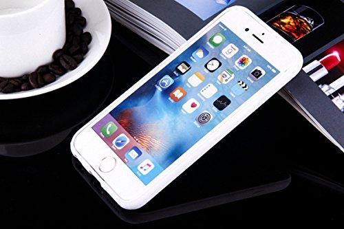 König-Shop Handy Hülle Mandala für Apple iPhone 6s Plus Design Case Schutzhülle Motiv Federn Totenkopf Cover Silikon Tasche Bumper Weiß