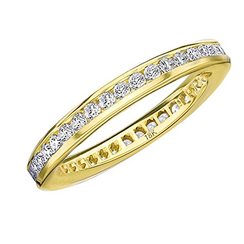 Eternity Wedding Bands .50 CTTW Diamond Eternity Ring in 18K Yellow Gold, Channel Set(F-G Color, VVS1-VVS2 Clarity) Diamond Anniversary Ring, Size 6.75
