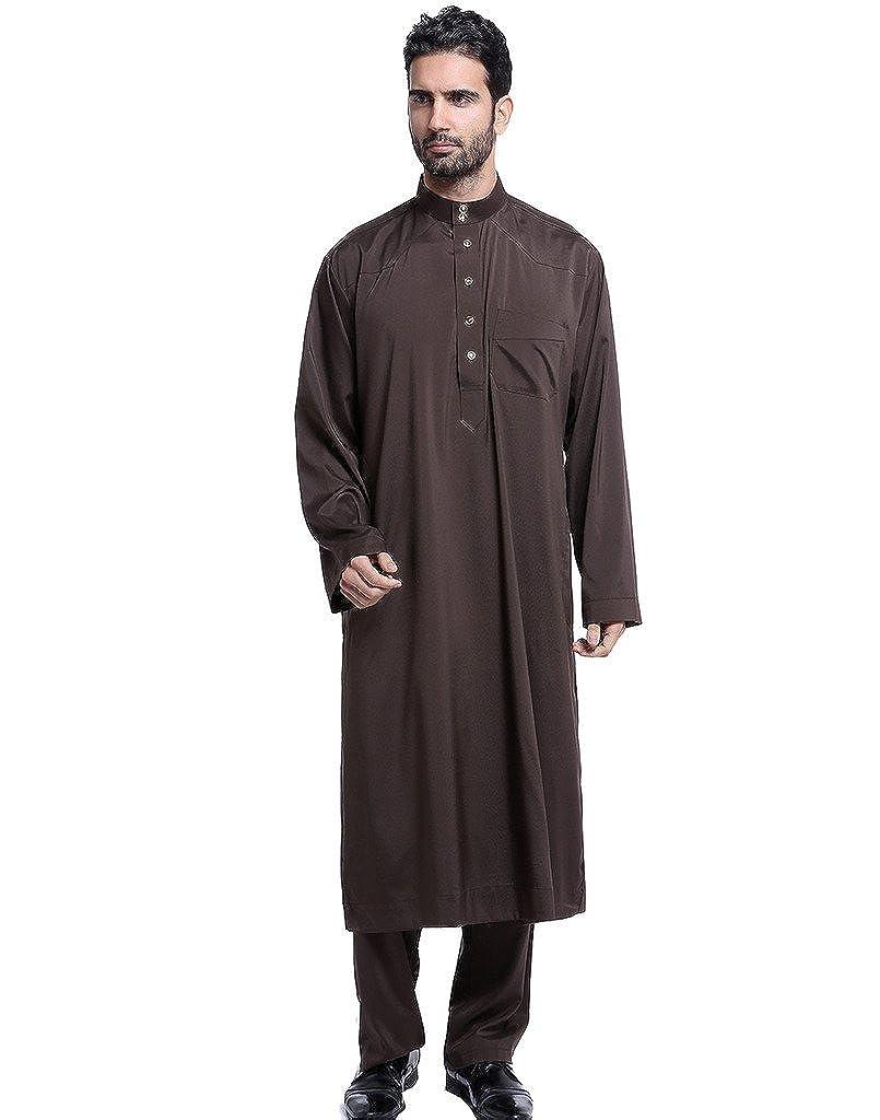 GladThink Mä nner Thobe mit Langen Ä rmeln Arabisch Muslim Wear Kalb Lä nge