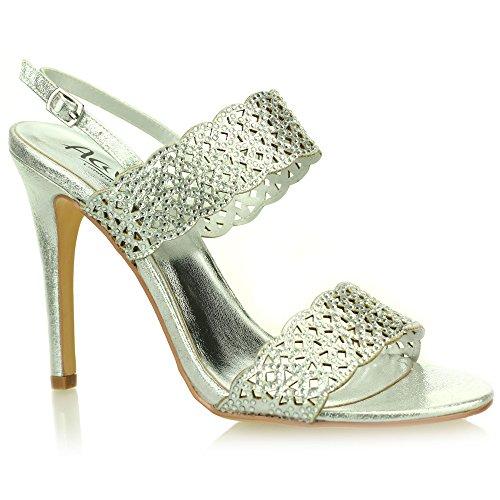 Aarz señoras de las mujeres de la tarde Comfort Banquete de boda Diamante sandalias de talón tamaño (Oro, Plata, Negro) Plata