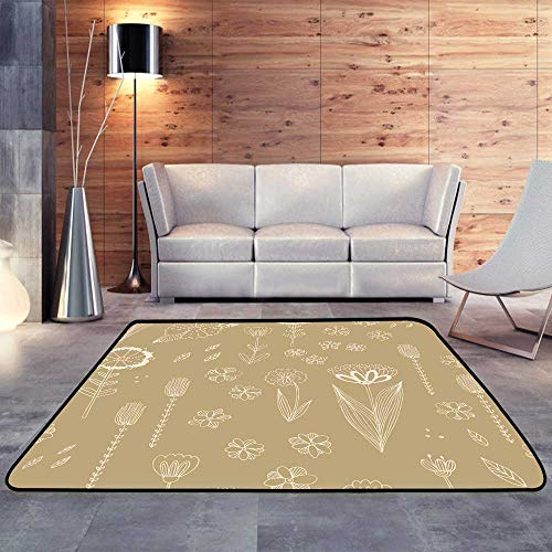 Outdoor Rugs,Pattern with Autumn Flowers Leaves and Grass.W 71