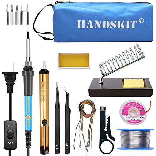 Soldering Iron, Soldering Iron Kit Electronics, 60W Adjustable Temperature Welding Tool, 5pcs Soldering Iron Tip, Soldering Iron Stand, Desoldering Pump, Tweezers, Solder Wire, Rosin, Carry Bag