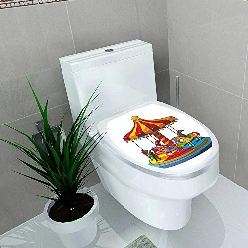 - Auraise-home Decoration Bathroom Toilet Cover Sticker Children Carousel with Colorful Horses Merry go Round for Restroom Wall Decals W8 x L11