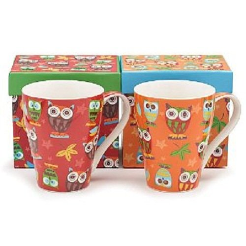 Set of 2 Whimsical Owl Coffee Mugs/cup in Gift Boxes 14 Ounces Adorable Kitchen Decor