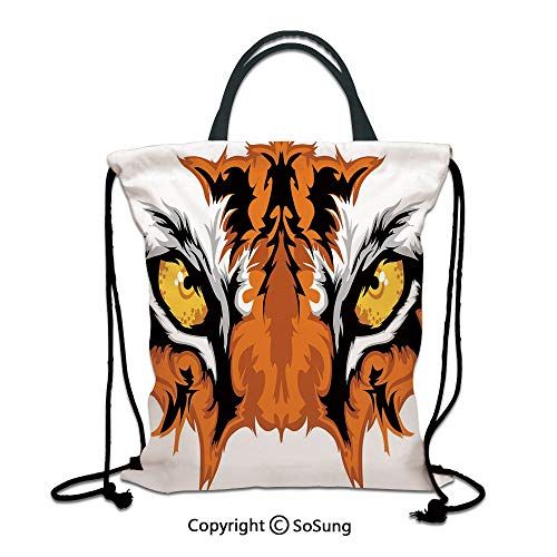 Eye 3D Print Drawstring Bag String Backpack,Tiger Eyes Graphic Mascot Animal Face Bengal Cat African Safari Predator Theme Decorative,for Travel Gym School Beach Shopping,Orange Yellow Black
