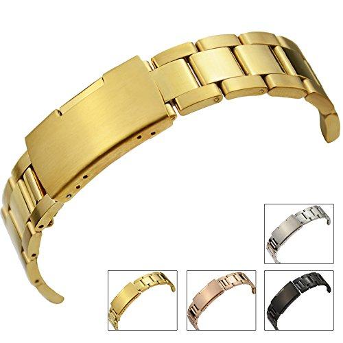 zlimsnウォッチバンドストラップソリッドステンレススチールメタル交換用ソリッドストラップメンズレディース腕時計 30mm ゴールド B075D3G1YMゴールド 30mm