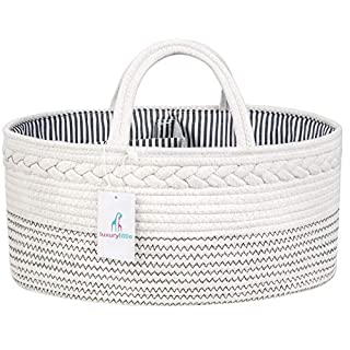 Luxury Little Baby Diaper Caddy Organizer - Rope Nursery Storage Bin for Boys and Girls - Large Tote Bag & Car Organizer with Removable Inserts - Baby Shower Gift Basket - Newborn Registry Must Haves