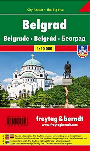 Belgrade, Serbia, Road and Travel Map, 1:15,000...