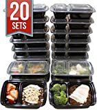 Kitchen & Housewares : [20 Pack] 32 Oz. 2 Compartment Food Containers Durable BPA Free Plastic Reusable Food Storage Container Microwave & Dishwasher Safe w/Airtight Lid For Portion Control & 21 Day Fix