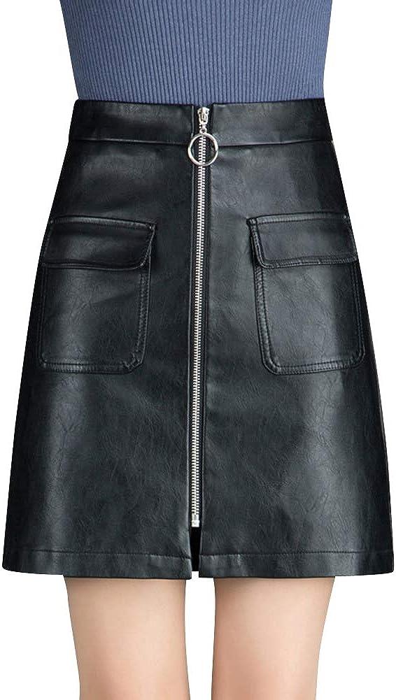Quge Faldas De Tubo para Mujer Cortas Mini Falda De Cuero PU Otoño Invierno