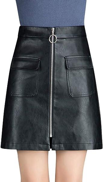 Quge Faldas De Tubo para Mujer Cortas Mini Falda De Cuero PU Otoño ...