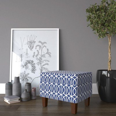 Bella Storage Ottoman - Blue Trellis - HomePop Blue by HomePop