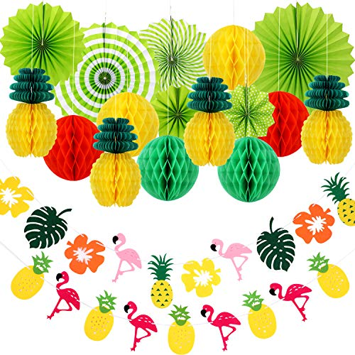 18 Pieces Summer Party Decoration Kit, Include Honeycomb Balls Paper Pineapples Hanging Paper Fans Pineapple Flamingo Banners for Hawaiian Summer Luau Birthday Wedding Party (Fan Party Kit)