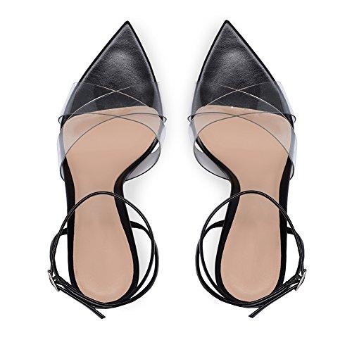 B2 Alto Sandalias Mejorar Tacón Sexy Cruzado Cinturón De Tacón Abierta Zapatos Fiesta TLJ Mujer black Alta Baile KJJDE Puntera nYqgFBn