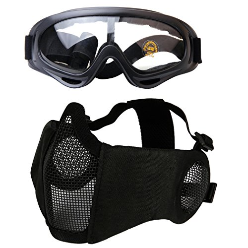 Outgeek Airsoft Half Face Mask Steel...
