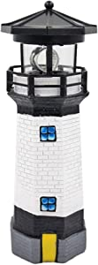 Wiixiong Solar Lighthouse with Rotating Light, LED Solar Guiding Light for Garden Fence Yard Outdoor Decoration(Black)