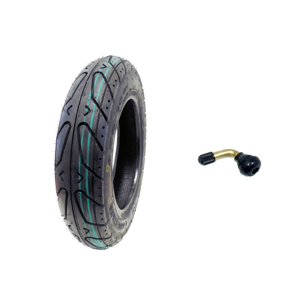MMG Scooter Tubeless Tire 3.50-10 Front Rear Motorcycle Moped (Metric 100/90-10) Rim 10 inches, Includes TR87 90 grades Bent Metal Valve Stem by MMG